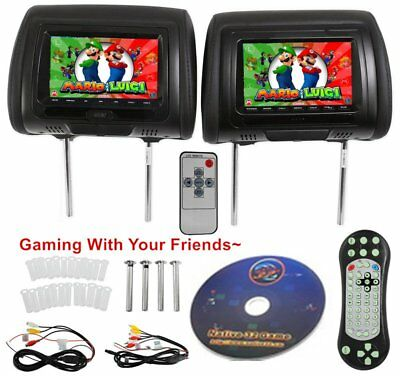 "2PCS 7"" Black Car Headrest Monitors DVD Player/USB/HDMI FM Speakers +Games NB"