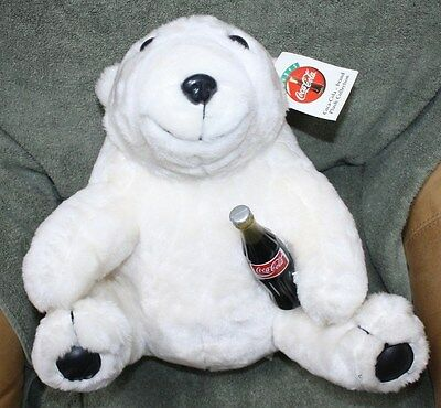 Coca Cola Plush Polar Bear Holding Glass Coke Bottle 1993