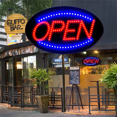 Ultral Bright Animated LED Oval Open Store Bar Cafe Restaurant Business Sign