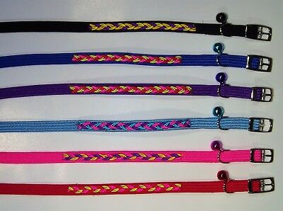 Nylon Stretch Cat Collar with Bell & Design - 10mm x 25cm