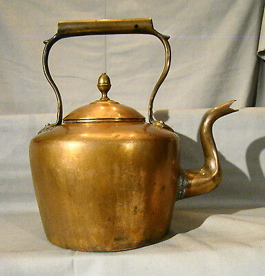 Antique Hand Made Dove-Tailed Hinged Lid Copper Tea Kettle Pot early 19th
