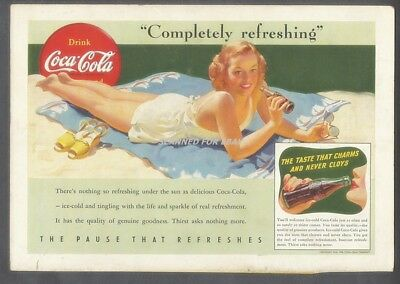 Coca Cola Ad 1941 Beach Girl Completely Refreshing National Geographic