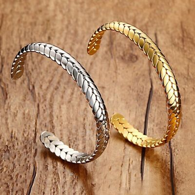 Mens Womens Stainless Steel 8mm Wheat Cuff Open Bangle Bracelet + Box  #BR456