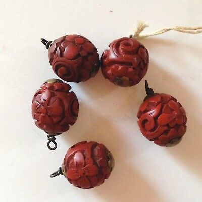 5 Antique CINNABAR Chinese Hand Carved Beads