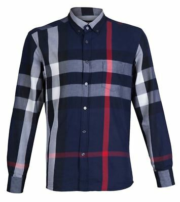 Burberry Brit Navy Exploded Check Shirt Men Size S-2XL Free Shipping