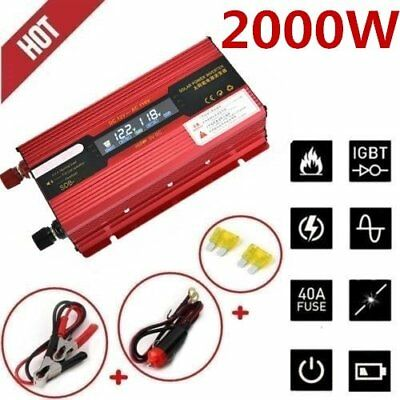 Portable Car LED Power Inverter 2000W WATT DC 12V AC 110V Charger Converter LU