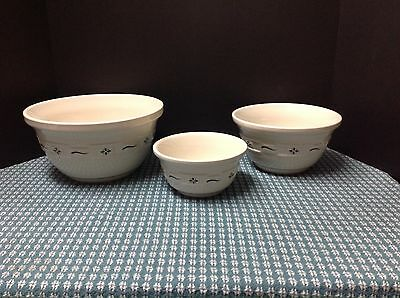 Longaberger Woven Traditions Heritage Green USA Made Pottery Mixing Bowl Set