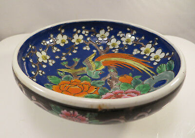 Antique Japanese Arita Imari Yamatoku Porcelain Bowl Flowers & Phoenix Japan