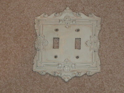 Vtg? Heavy Metal Antique White Double Light Switch plate ~ Victorian/Art Deco?