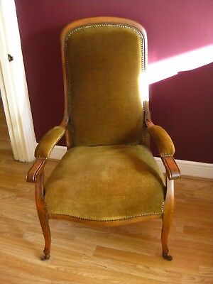Lovely Vintage French Chair - green cover, dark wood