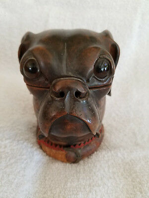 An Antique English Hand Carved Pug Dog Head Shaped Ink Well with Glass Eyes