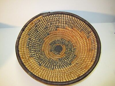 "VINTAGE 11"" AFRICAN Fruit Bowl Basket  TIGHT WEAVE FANTASTIC BOWL"
