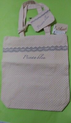 Fabric bag with small pouch with zipper Cute dot lace pattern
