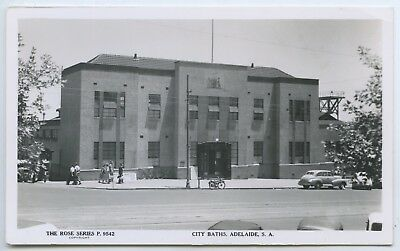 1951 Rp Npu Postcard Adelaide City Baths Sa Rose Series 9542 Good Condition V58