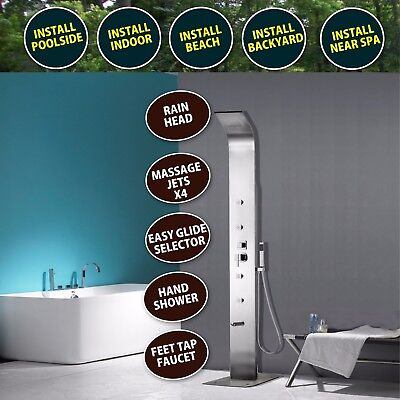 Outdoor Shower 316 STAINLESS - Plumbed Pool Garden Backyard beach HOT/COLD NEW