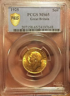 1 Sovereign 1925 Pcgs Ms 65 Gold 1 Pound Sovereign Coin