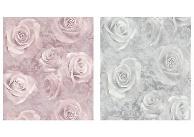 Reverie Pink Blush Or Silver Floral Rose Wallpaper 623302 623303 - By Arthouse