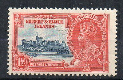 """Gilbert and Ellice Islands 1935 1d Silver Jubilee """"flagstaff"""" variety MH"""