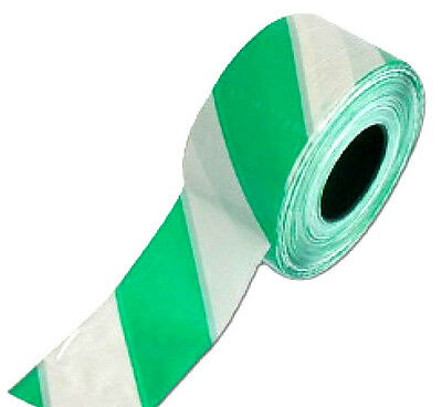 5 x 75mm 500M ROLL GREEN WHITE HAZARD WARNING NON ADHESIVE BARRIER TAPE FESTIVAL
