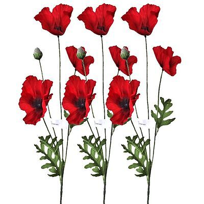 3 Artificial 62cm Flame Red Poppy Flower Stems - Remberance Flower - Poppies
