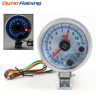 Chrome Auto Tachometer Gauge 0-11000 RPM Blue LED Tacho Meter with Shift Light