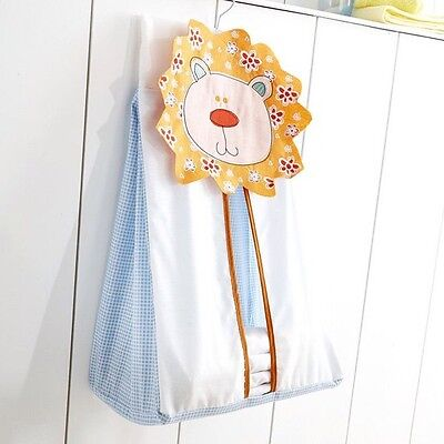 Nursery Nappy Stacker Baby Boy Embroidered Lion Head Jungle Animal Blue White