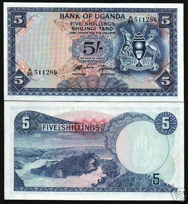 UGANDA 5 SHILLINGS P1 1966 1st BANK NOTE CRANE WATER FALLS UNC AFRICA CURRENCY