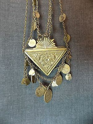 Antique Muska Amulet Necklace Bulgarian Talisman. Triangular Pendant, Jewellery