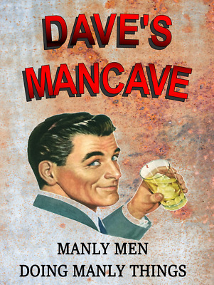 Personalised Man Cave sign, mancave,gift Funny, retro, bar, pub vintage free P&P