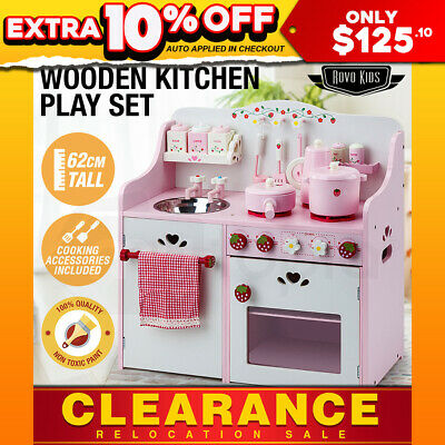 NEW ROVO KIDS Wooden Pretend Kitchen Role Play Set Cooking Cookware Toy Toddler