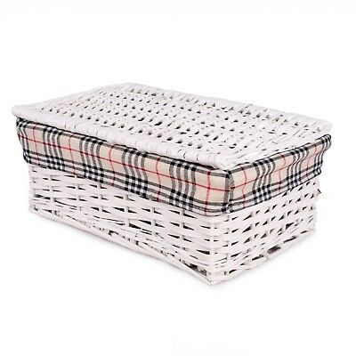 White With Lid Wicker Storage Shelf Basket Collection Christmas Gift Hamper