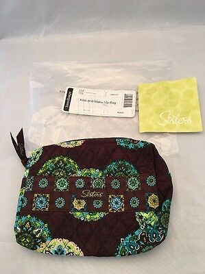NWT Longaberger Kiss And Make - Up Bag ADORN Brown Multi Sisters