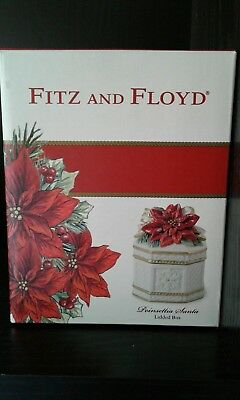 NEW Fitz and Floyd Holiday Lidded Poinsettia Box Artisan Style FREE SHIPPING