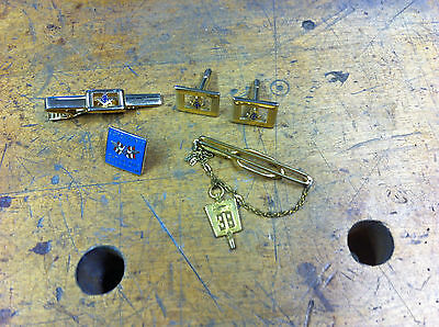 Vintage Masonic cuff links and tie clip set with extra tie bar/chain & 1989 pin