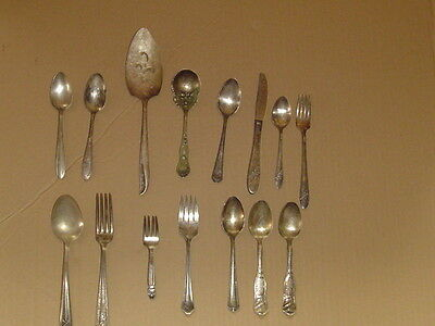 Mixed 15 PIECE Lot of Silverplate Flatware Vintage Oneida 1881 Rogers RC Co BB
