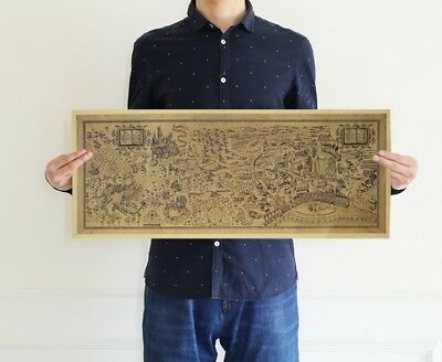 Harry Potter The Wizarding World Hogwarts Map Vintage Wall Poster Room Bar Decor
