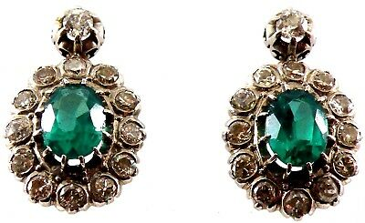 Beautiful Cluster 1930 Platinum with Diamond & Synthetic Emerald Earrings