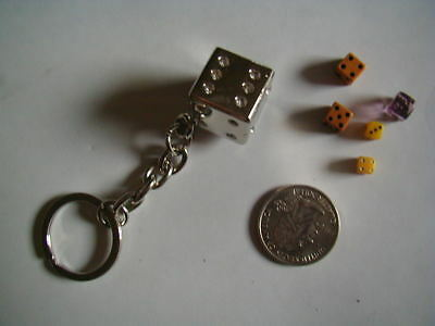 vintage lot of 5 miniature dice heavy metal dice keychain 1 small tiny glass