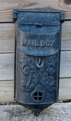 Vintage Ornate Griswold ? Cast Iron Wall Mount Mail Box