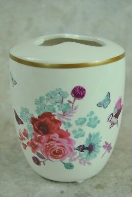 Vintage style Cream Red Duck Egg Blue Floral Bird design Toothbrush holder