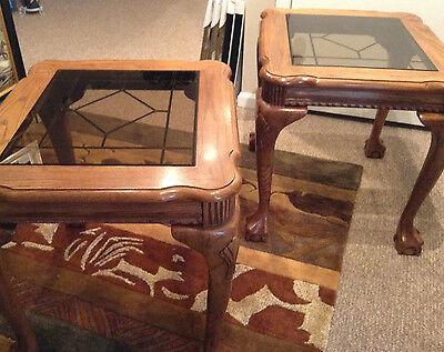 Oak End Tables with leaded glass inserts- ball& claw feet- Pair