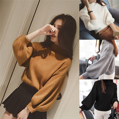 Women Sweaters Fashion Turtleneck Long Sleeve Pullovers Loose Knitted Sweaters。