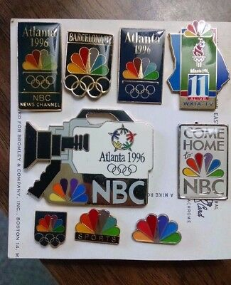 Set of 9 olympic pins featuring television company NBC (LOT).