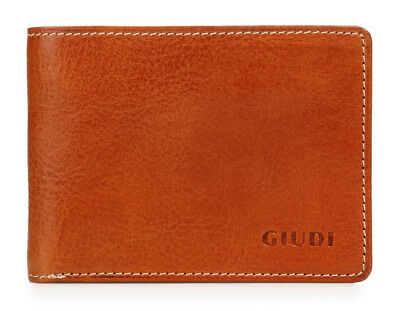 Giudi Small Men's Genuine Leather Bifold  Wallet with Coin Pocket Made in Italy