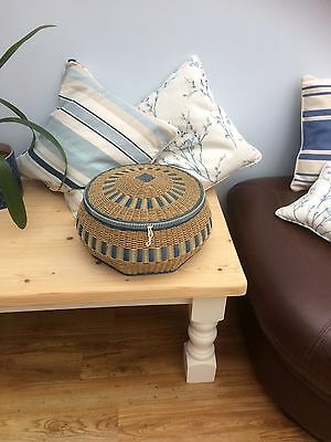 Vintage 1960's Large Round Blue and White Wicker Rattan Sewing Box Basket