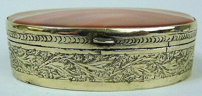 A Fine Victorian Antique Silver Plate & Agate Table Snuff Box C.1880