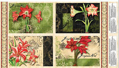 """Christmas In Bloom Amaryllis Flower Cotton Fabric Place Mat Project 24"""" Panel"""