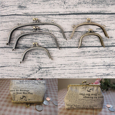 Retro Alloy Metal Flower Purse Bag DIY Craft Frame Kiss Clasp Lock Bronze AB