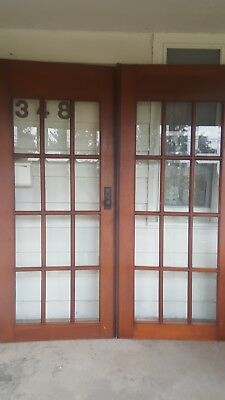 antique sold core 15 pane beveled french door no frame