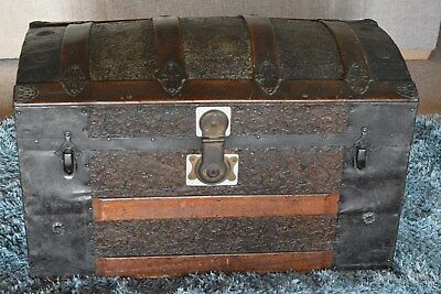 Dome Top Trunk round Top Chest Travel Trunk Old Pine storage coffee table